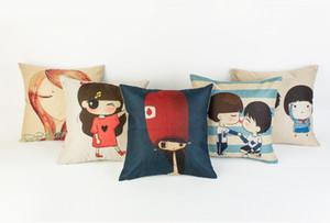 Wholesale Cute cartoon hand warmer linen pillow set,boy girl couple on the pillowcase(not in include pillow),45X45cm