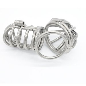 Chastity Steel-CBT-ремень # R501 Кейдж из нержавеющей клетки ZCS73 Мужской Бондаж Фетиш Устройство Padlock PVCQJ