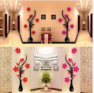 3D DIY ВАЗа цветок сливы дерево Arcylic стикер стены Home Room TV Decor винил искусства