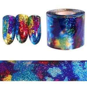 1 M Gradiente Starry Sky Nail Foil Azul Papel Holográfico Calcomanías Decoración Nail Art Sticker Accesorios de Decoración