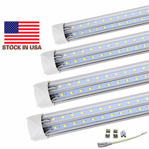 Stock In US V-Shaped T8 4ft 5ft 6ft 8ft Cooler Door Led Tubes Integrated Led Tubes Double Sides SMD2835 Led Fluorescent Lights 85-265VAC