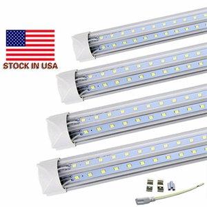 Stock In US V-Shaped T8 4ft 5ft 6ft 8ft Cooler Door Led Tubes Integrated Led Tubes Double Sides SMD2835 Led Fluorescent Lights 85-265VAC