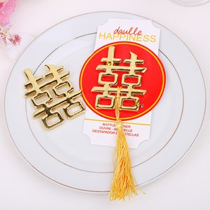 Chinese Asian Themed Double Happiness Metal Golden Bottle Opener Wedding Party Favors Wedding Giveaways 100 unids / lote