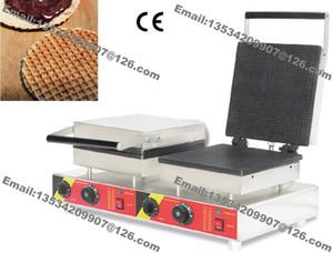 Envío gratuito comercial antiadherente 110 v 220 v eléctrico 25 cm cuadrado doble Stroopwafel holandés Syrop Waffle Machine Baker Maker hierro molde