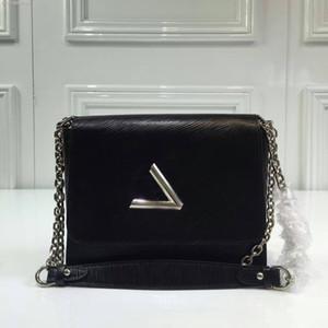 Nueva garantizada de cuero genuino Twist Denim Medium Crossbody Bag Mujeres Single Hombro Cadena de bolso Envío Gratis 335