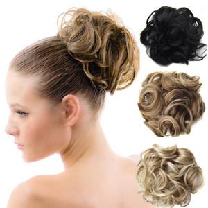 Wholesale-1PC 구매 머리 빵 Chignon 확장 Hairpieces 80g 여성 큰 머리 신부 Bun 곱슬 클립 Hair Buns 무료 배송