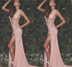 2020 árabe atractivo Blush rosa vestidos de baile de la joya collar de apliques de perlas de alta división del tamaño extra largo desfile de moda para fiestas vestidos de noche formal