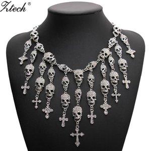 Moda de moda lindo colar de esqueleto crânio cruz jóias de cristal departamento declaração mulheres choker colares pingentes