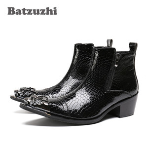 POP Kaya Siyah Erkekler Çizmeler Sivri Demir Ayak Fermuar erkek Ayak Bileği Çizmeler Moda Sonbahar Deri Erkek Ayakkabı bota masculina