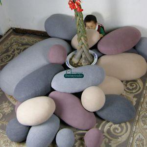 Dorimytrader moda diy 6 pcs cobblestone decoração do quarto almofada de pedra emulational gigante forma de pedra travesseiro crianças play toy 5 cores dy61089