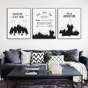 Nordic Black Typography Adventure Quotes Art Print Poster Mountain Wall Picture Hippie Modern Home Deco Canvas Painting No Frame