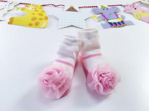 Adorable Infant Socks Solid Rose Flower Girls Stockings Children Kids Full Cotton Socks European American Style INS Socks Princess Gift 9572