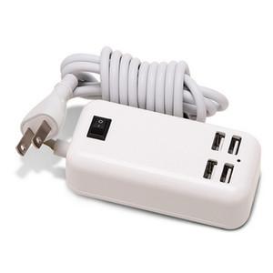 Nuevo 15W 4 puertos USB Desktop Wall Charger 5V / 3A 1.5m Cable Cargador de escritorio para MP3 Teléfonos inteligentes iPhone iPad Tablet