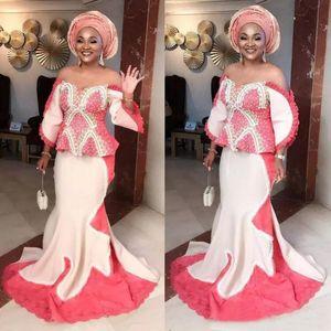 Nigeria africaine sirène robes de soirée grande taille Aso Ebi Robe de Soirée Robes de l'épaule Occasions spéciales Robes de bal avec des manches