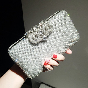 Shining Crystal Silver Gold Bridal Hand Bags Style Fashion Ring Women Clutch Bags For Party Evenings Formal