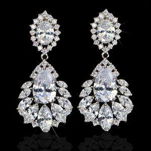 3 strati veri 18k placcato in oro bianco di alta qualità CZ zirconia diamante brillante corona di lusso orecchini pendenti da sposa per il matrimonio e la festa