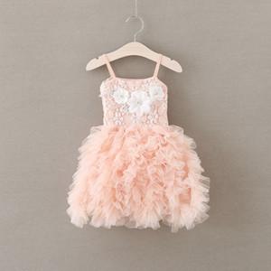 Kızlar parti elbise yeni çocuk boncuklu flowres elbise kızlar dantel askı katmanlı tül tutu elbiseler çocuklar pembe prenses elbise A9360