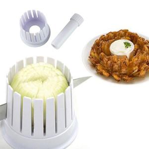 Atacado-1pc Cozinha Onion Blossom Maker Cebola Slicer Cortador Blossom Maker Plástico Branco 2 em 1 Fruit Vegetable Tools S2