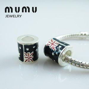 Nuevo estilo de esmalte de la bandera de cuentas de plata chapado en la bandera del Reino Unido gran agujero flojo perlas adapta europeo diy Jewlery serpiente pulseras del encanto de las mujeres