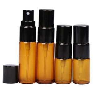 3ml 5ml mini Spray Portable Brown Glass Refillable Perfume Bottle Empty Essential Oil Case With Black Spray F20172120