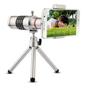 18X Zoom Telefono Telescopio Teleobiettivo Fotocamera + Treppiede + Guscio protettivo in alluminio universale per iPhone Cellulari Android
