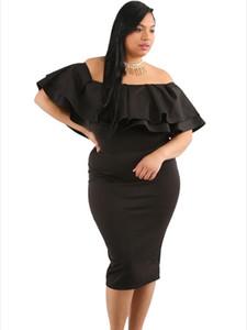 Roupas nova mulher gorda XL pura barra pescoço gola mangas curtas vestido 61611