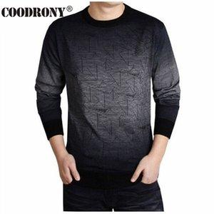 COODRONY кашемировый свитер мужчины марка одежды Мужские свитера печати повесить Пай повседневная рубашка шерсть пуловер мужчины тянуть O-образным вырезом платье T 613