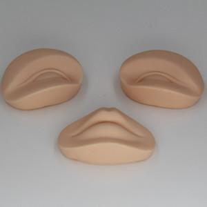 3D Permanent Make-Up Tattoo Praxis Haut Ersatz 2 Augen und 1 Lippen für Training Mannequinkopf