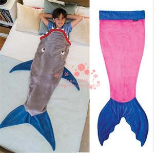 Tubarão Sereia Cobertores Crianças Veludo Macio Sereia Cauda Cobertor Swaddling Saco De Dormir Com Alta Qualidade Frete Grátis