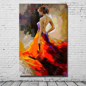 Dipinto a mano bella signora pittura a olio moderna soggiorno decorazione della parete pittura su tela astratta ragazza arte senza cornice