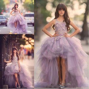 Luxury High Low Flower Girls Dress per Teens 3D Floral Appliques Fatti a mano Fiori Viola Abito da ballo Junior Party Pageant Dress