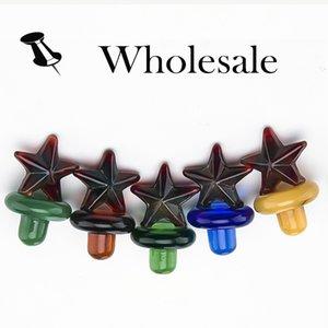 Yeni varış Renkli cam kabarcık yıldız carb kap için Kuvars banger Çivi cam su boruları, dab petrol kuleleri toptan