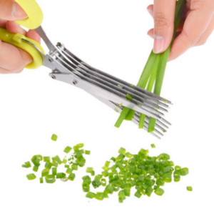 Multifunktions-Edelstahl-Küchenmesser 5 Schichten Schere Sushi geschreddert Scallion Cut Herb Spices Schere