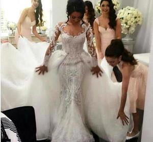 Stunning Mermaid Wedding Dresses 2018 Long Sleeve with Detachable Train Prganza with Beading Cathedral Train Vestido De Novia Custom