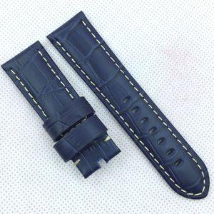 24 mm 120/75 mm escuro azul crocodilo grão pulseira de couro para panerai ou outro relógio radiógrafo lunarin