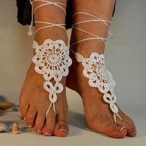 Sandalias descalzas de ganchillo, zapatos desnudos, joyería del pie, correas de los pies, sandalias descalzas, accesorios nupciales de la playa del algodón zapatos del cordón