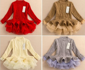 2016 Spring autumn Kids Girls Knit Sweater Dresses Baby girl tulle lace TUTU Winter princess jumper pullover dress free shipping