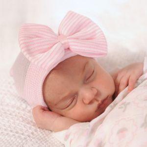 Bebê recém-nascido Crochet Chapéus com Big Bow Bebé bonito Knitting Stripe Caps Quente Outono Inverno Cotton Cap IC777