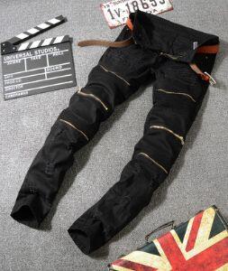 Ripped Bleistift-Hosen Männer Art und Weise Slim Fit Jeans Schwarz Weiß Rot-lange Hosen-Reißverschluss Entwurfs-Hose