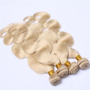 New Arrival 퓨어 컬러 # 613 Human Hair 4 번들 Double Wefted Body Wave 물결 모양의 헤어 위브 10-30 인치 Blonde 613 Hair Extensions