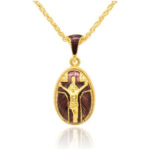 손으로 만든 공예 에나멜 종교 예수님 크로스 펜던트의 매력 목걸이 Faberge Egg STYLE Pendant for Easter day