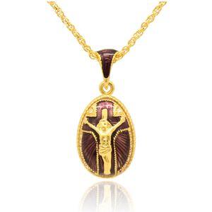Emaille Kreuz Faberge Religion Jesus Hand Day-Anhänger-Halskette Craft Charm Stil für Ei-Ostern-Anhänger Xorqx