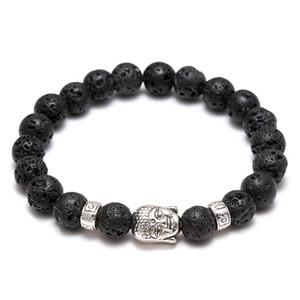 Gioielli da donna Diffusori da donna Anti-fatica Argento Buddha Lava pietra naturale Bracciali Bracciali Volcanic Rock Prayer Beads Bracelet