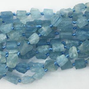 "Doğal Hakiki Ham Mineral Berrak Su Mavi Akuamarin El Kesim Nugget Serbest Form Gevşek Kaba Mat Faceted Boncuk 6-8mm 15.5 ""05351"