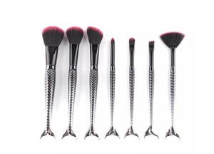 Schwarze Meerjungfrau Pinsel Spirale Make-up Pinsel Set 7pcs Creme Gesicht Power Pinsel Mehrzweck Beauty Kosmetik Pinsel