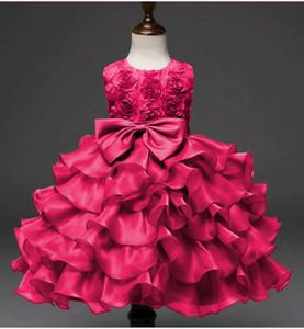 Vestidos de belleza para el cumpleaños de cumpleaños Gran nudo del arco Vestido de fiesta Corto de niña pequeña Rosas Diseño Flor Princesa Vestido