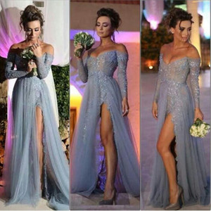 Long Sleeve Off Shoulder Tulle Lace Evening Dress Sweep Train Applique A-line Grey Sexy Formal Prom Gowns with Side Slit