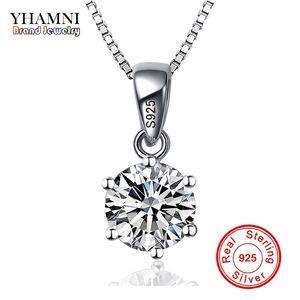 YHAMNI Mode 6 Krallen Luxus CZ Anhänger Halskette mit 1ct 6mm Zirkonia 925 Sterling Silber Halskette Frauen XN6