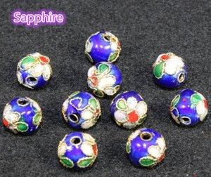 10mm Cloisonne Dello Smalto Perline Colorate Filigrana Genuino Rotondo Allentato Borda Per Gioielli FAI DA TE Braccialetto Artigianato Charms Cloisonne Beads