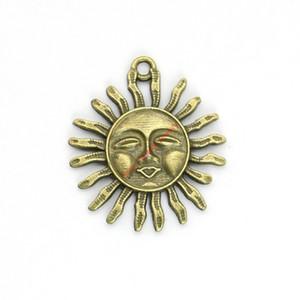 15pcs bronze antique plaqué soleil visage charmes pendentifs pour la fabrication de bijoux de bracelet bricolage collier artisanat 33x29mm